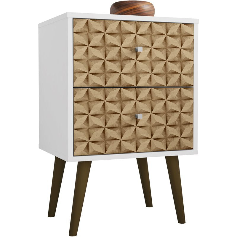 Liberty 2.0 Mid Century Modern Nightstand-White and 3D Brown Prints-Daily Steals