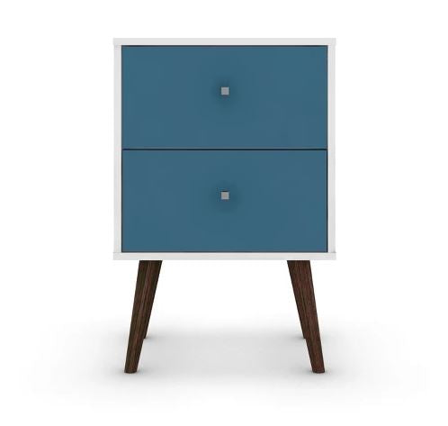 Liberty 2.0 Mid Century Modern Nightstand-White et Aqua Blue-Daily Steals