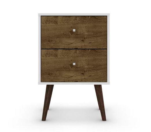 Liberty 2.0 Mid Century Modern Nightstand-White and Rustic Brown-Daily Steals