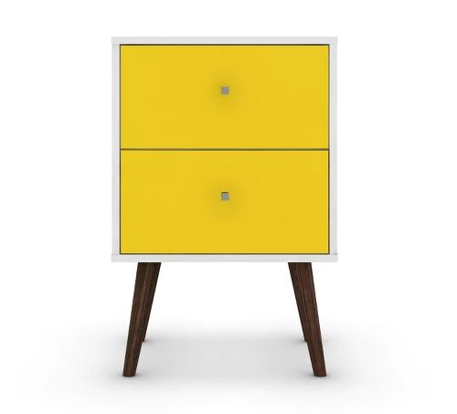 Liberty 2.0 Mid Century Modern Nightstand-White et Yellow-Daily Steals