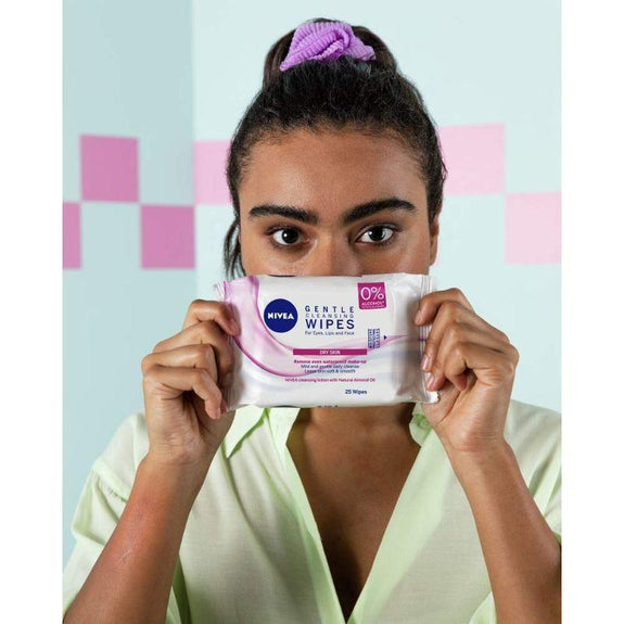 Nivea Visage Daily Facial Cleansing Wipes 25 Pieces - 5 Pack-Dry to Sensitive Skin-