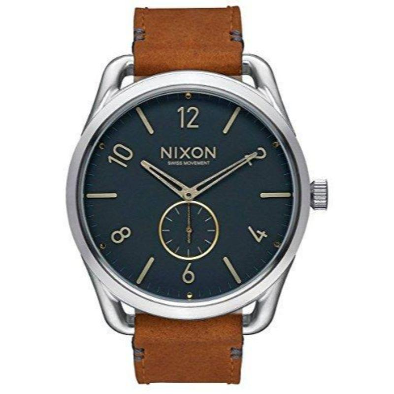 NixonThe C45 Leather Watch, Navy and Saddle, A465-2186-00-