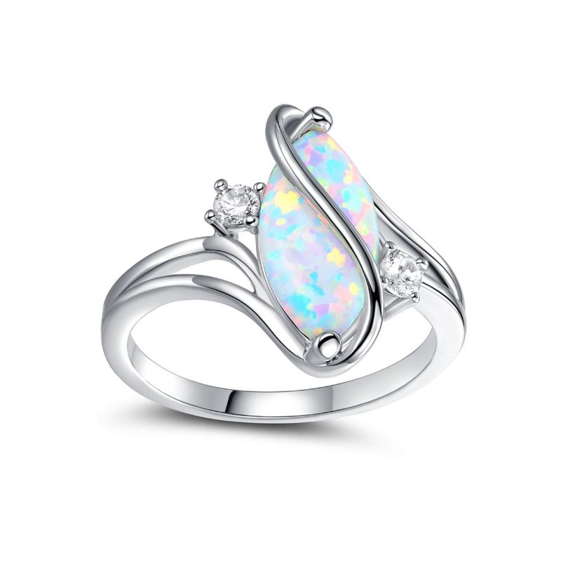 Oval-Cut White Fire Opal and Cubic Zirconia S Ring by Peermont-6-Daily Steals