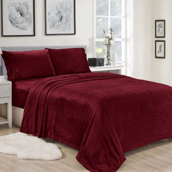 Noble House Lavana Microplush Sheet Set-BURGUNDY-TWIN-