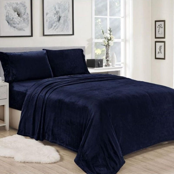 Noble House Lavana Microplush Sheet Set-NAVY-QUEEN-