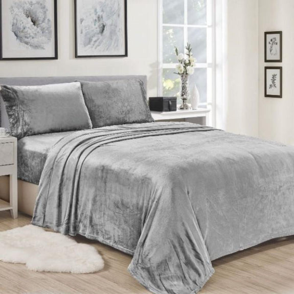 Noble House Lavana Microplush Sheet Set-GREY-TWIN-