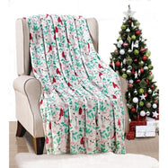 Noble House Soft Fleece Winter Holiday Throw Blanket-Holiday Cardinal-