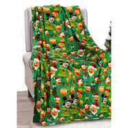 Noble House Soft Fleece Winter Holiday Throw Blanket-Holiday Funny Faces-