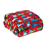 Noble House Soft Fleece Winter Holiday Throw Blanket-Red Holiday Cars-