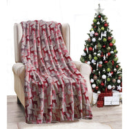Noble House Soft Fleece Winter Holiday Throw Blanket-Tan Reindeer-