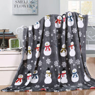 Noble House Soft Fleece Winter Holiday Throw Blanket-Grey Snowman-