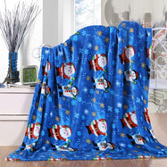 Noble House Soft Fleece Winter Holiday Throw Blanket-Night Snowman-