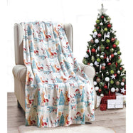 Noble House Soft Fleece Winter Holiday Throw Blanket-Forest Friends-