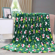 Noble House Soft Fleece Winter Holiday Throw Blanket-Green Snowman-