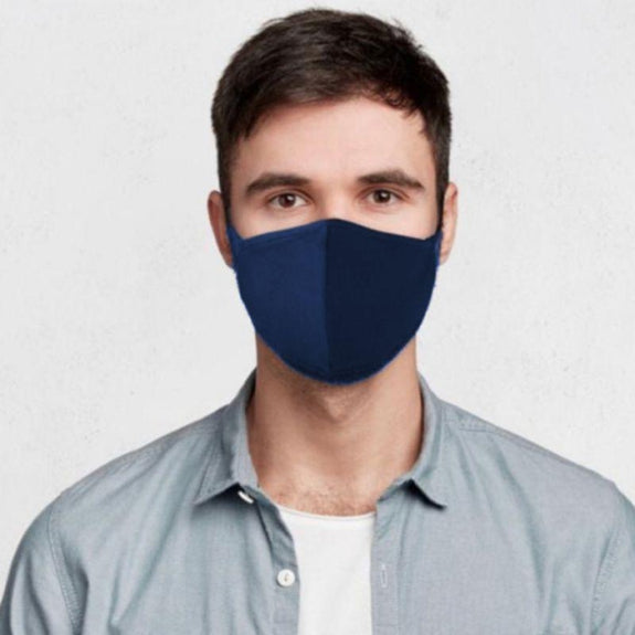 Non Medical Cotton Fabric Face Covers- 5 Pack-Navy-