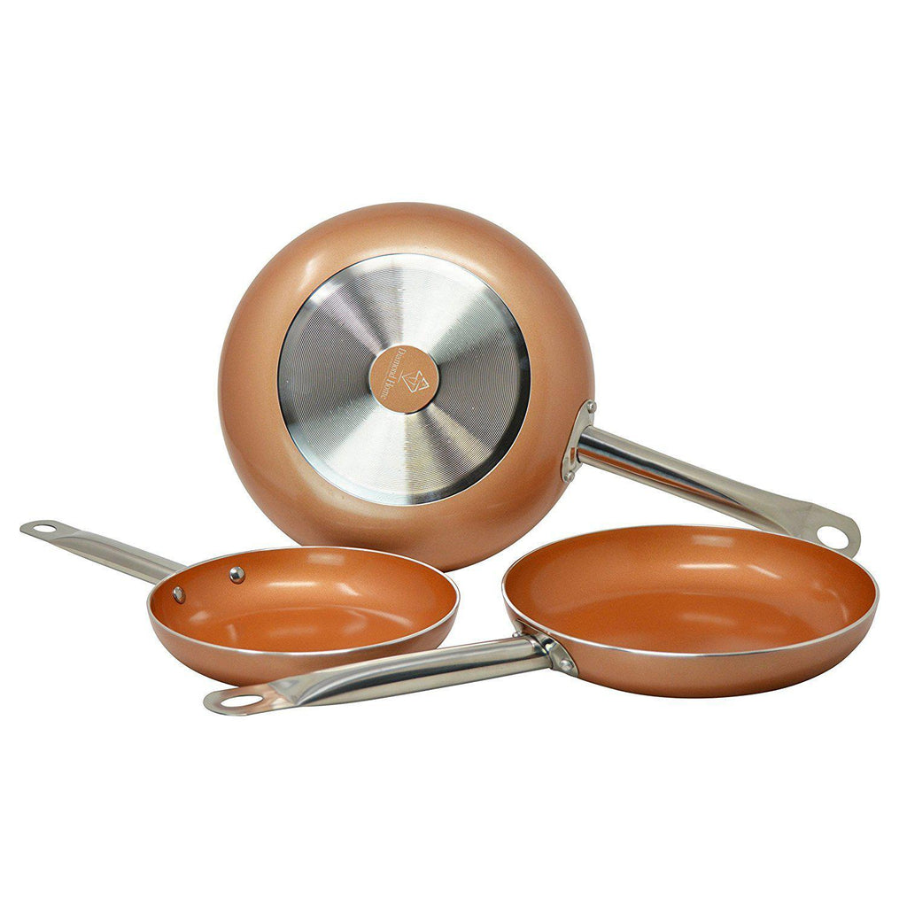 "Daily Steals-Nonstick Copper Frying Pan with Stainless Steel Handle [3 Sizes]-Kitchen Essentials-8"" Copper Pan-"