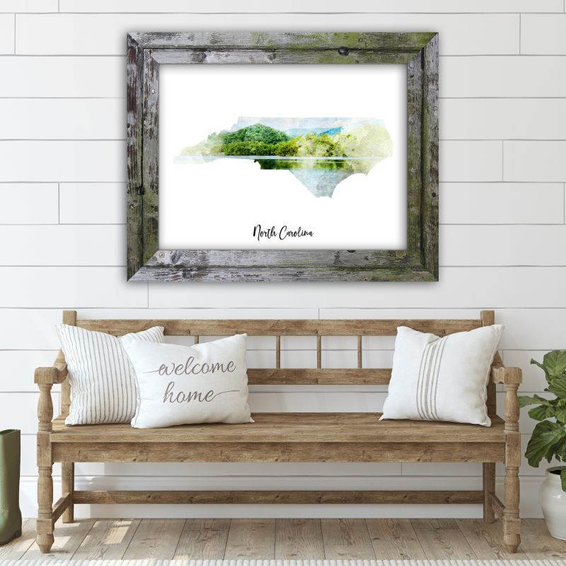 "North Carolina Watercolor Map Print - Unframed Art Print-10""x8""-Horizontal/Landscape-Daily Steals"
