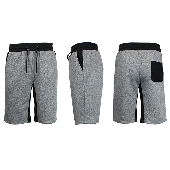 Men's Marled French Terry Shorts with Contrast Pockets-Heather Grey/Black-Small-Daily Steals