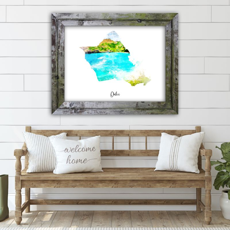 "Oahu Watercolor Map Print - Unframed Art Print-7""x5""-Horizontal/Landscape-Daily Steals"
