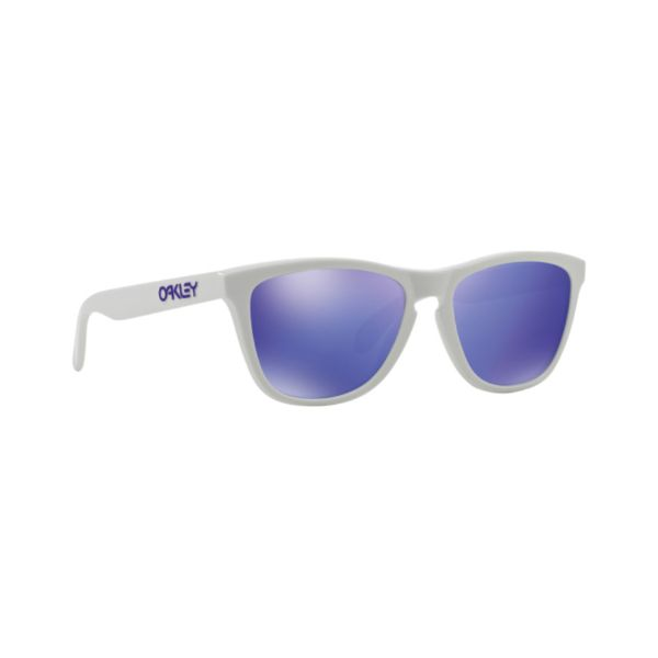 Oakley Frogskins Heritage 9013-35 Polished White Violet Iridium Sunglasses-Daily Steals