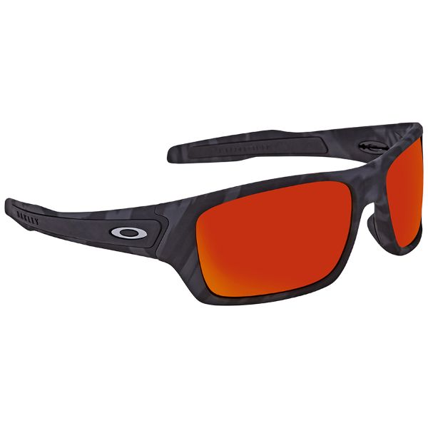 Oakley Turbine Sunglasses Black Camo Prizm Ruby Red OO9263-53-Daily Steals