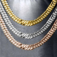 "18"" Curb Chain Necklace in 14K or 18K Gold - 3 Color Tones-Daily Steals"