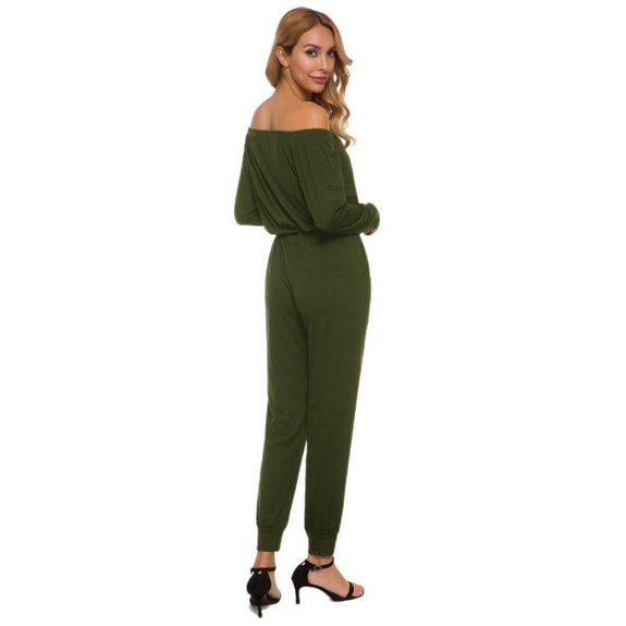 Off the Shoulder Solid Pant Romper-Daily Steals
