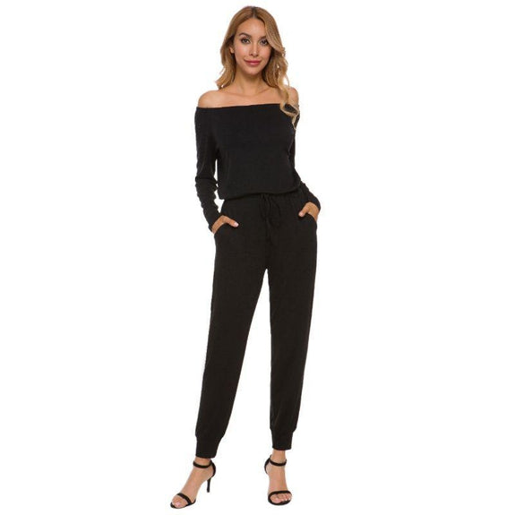 Off the Shoulder Solid Pant Romper-Black-2X-Daily Steals