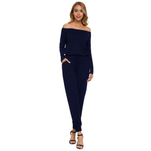 Off the Shoulder Solid Pant Romper-Blue-2X-Daily Steals