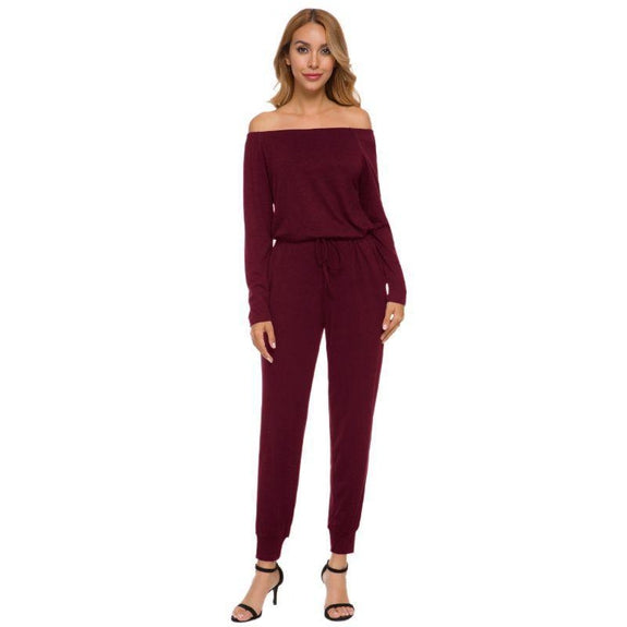 Off the Shoulder Solid Pant Romper-Burgundy-3X-Daily Steals