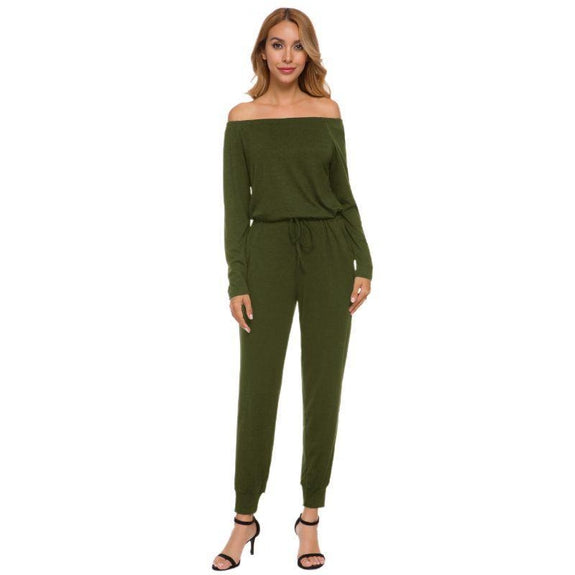Off the Shoulder Solid Pant Romper-Green-2X-Daily Steals