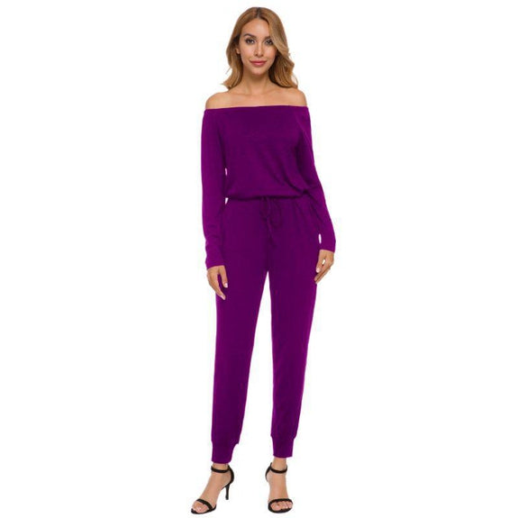 Off the Shoulder Solid Pant Romper-Purple-2X-Daily Steals