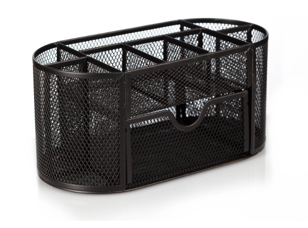 Daily Steals-OfficeMate Oval Supply Caddy Mesh Metal Desk Organizer-Home and Office Essentials-