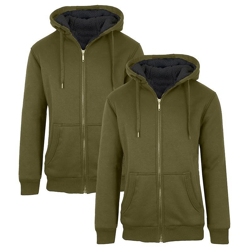 Men's Heavyweight Sherpa Fleece-Lined Zip Hoodie - 2 Pack-Olive & Olive-M-Daily Steals