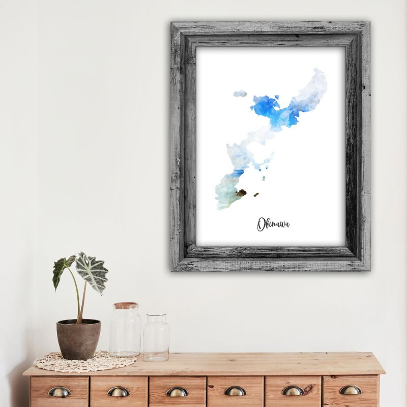 "Okinawa Watercolor Map Print - Unframed Art Print-12""x16""-Vertical/Portrait-Daily Steals"
