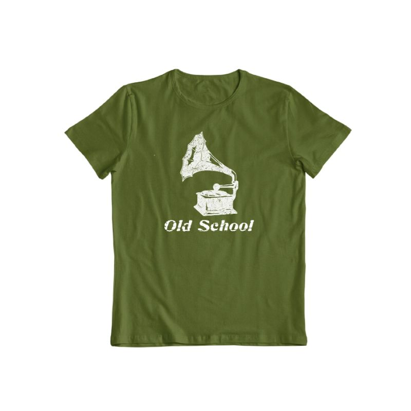 """Old School"" T-Shirt-Military Green-S-Daily Steals"
