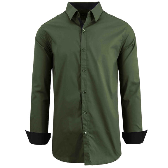 Mens Long Sleeve Solid Dress Shirt-Olive-3XL-Daily Steals