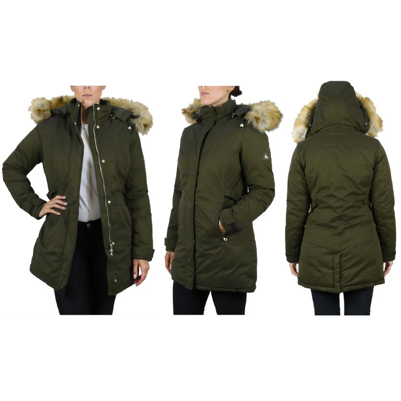 Women's Heavyweight Parka Jacket With Detachable Hood-2XL-Olive Classic Parka-Daily Steals