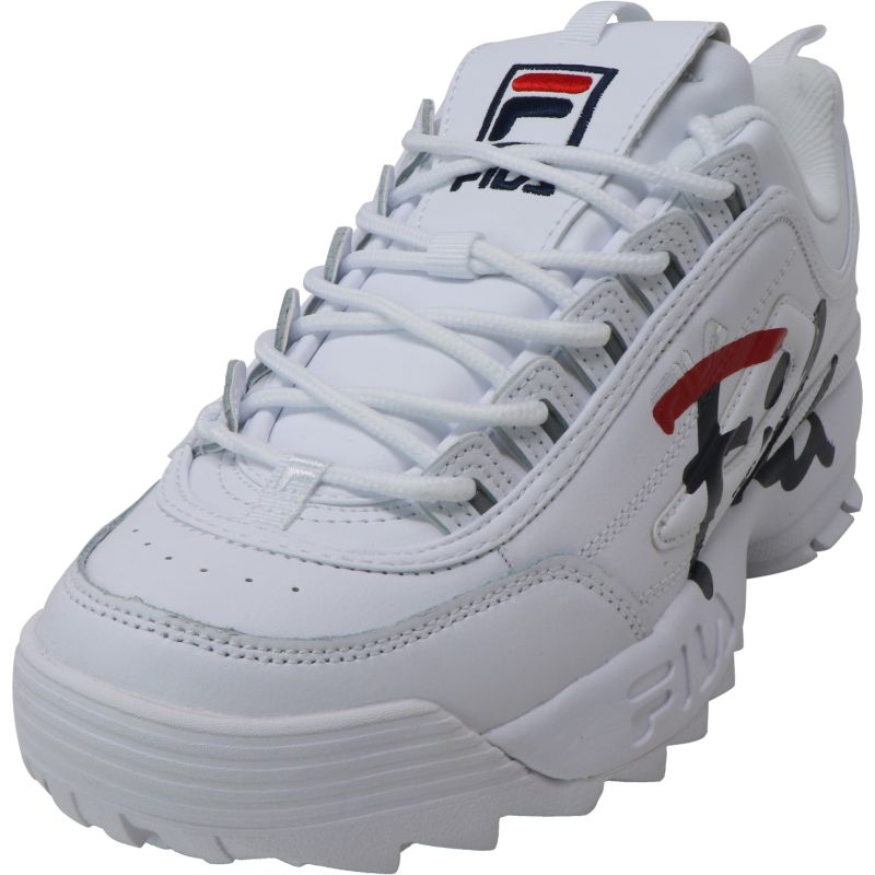 Fila Women's Disruptor Ii Script White/Navy Red Ankle-High Leather Sneakers-10-Daily Steals