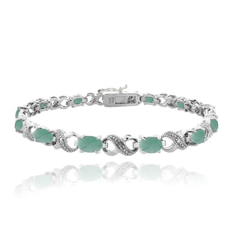 Infinity Bracelet Plated in 18K White Gold with 10 CTTW Precious Stone-Opal-Daily Steals