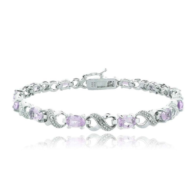 Infinity Bracelet Plated in 18K White Gold with 10 CTTW Precious Stone-Pink-Daily Steals