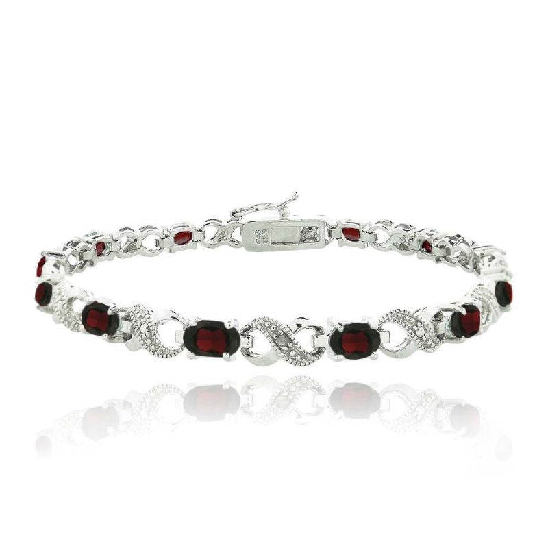 Infinity Bracelet Plated in 18K White Gold with 10 CTTW Precious Stone-Dark Ruby Red-Daily Steals