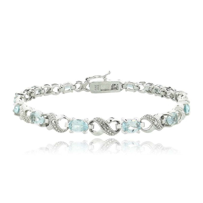 Infinity Bracelet Plated in 18K White Gold with 10 CTTW Precious Stone-Blue-Daily Steals