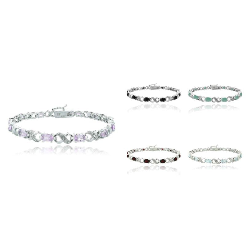 Infinity Bracelet Plated in 18K White Gold with 10 CTTW Precious Stone-Daily Steals