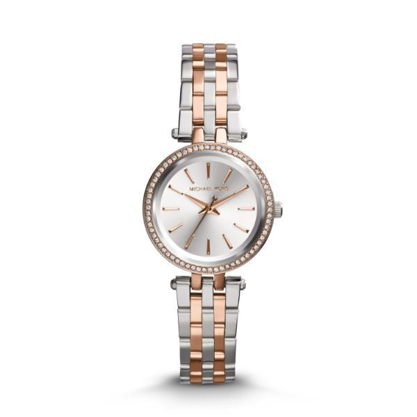 Michael Kors Petite Darci Silver and Rose Gold Tone Women's Watch-Daily Steals