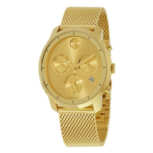 Movado Men's BOLD Thin Yellow Gold Chronograph Watch with a Printed Index Dial, Gold (Model 3600372)-Daily Steals