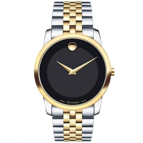 Movado Men's Museum Two Tone Watch with Concave Dot Museum Dial, Gold/Black & Brown Strap (606899)-Daily Steals