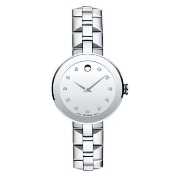 Movado Women's Sapphire Stainless Steel Watch with a Concave Dot Museum Dial, Silver (Model 606814)-Daily Steals