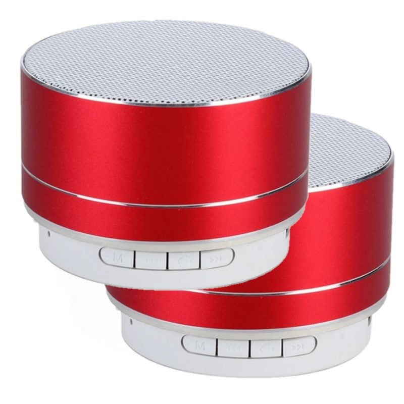 Wireless Bluetooth Speaker Portable & Metallic Design-Red-2-Pack-Daily Steals