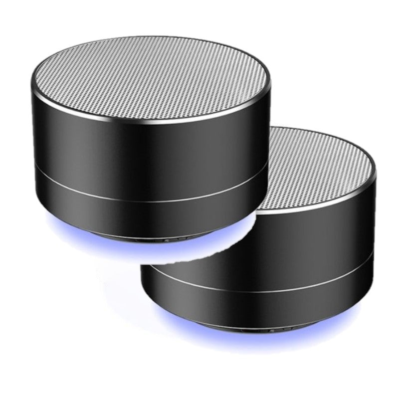 Wireless Bluetooth Speaker Portable & Metallic Design-Black-2-Pack-Daily Steals